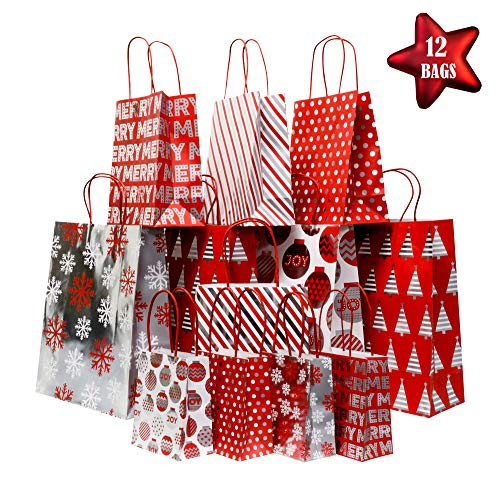 Red And White Gift Bags (Christmas Gift Bags with Metallic foil Finish, Red, White and Silver, Large, Petite Medium and Extra Small Variety Pack, 4 Bags in Each Size (Set of 12)