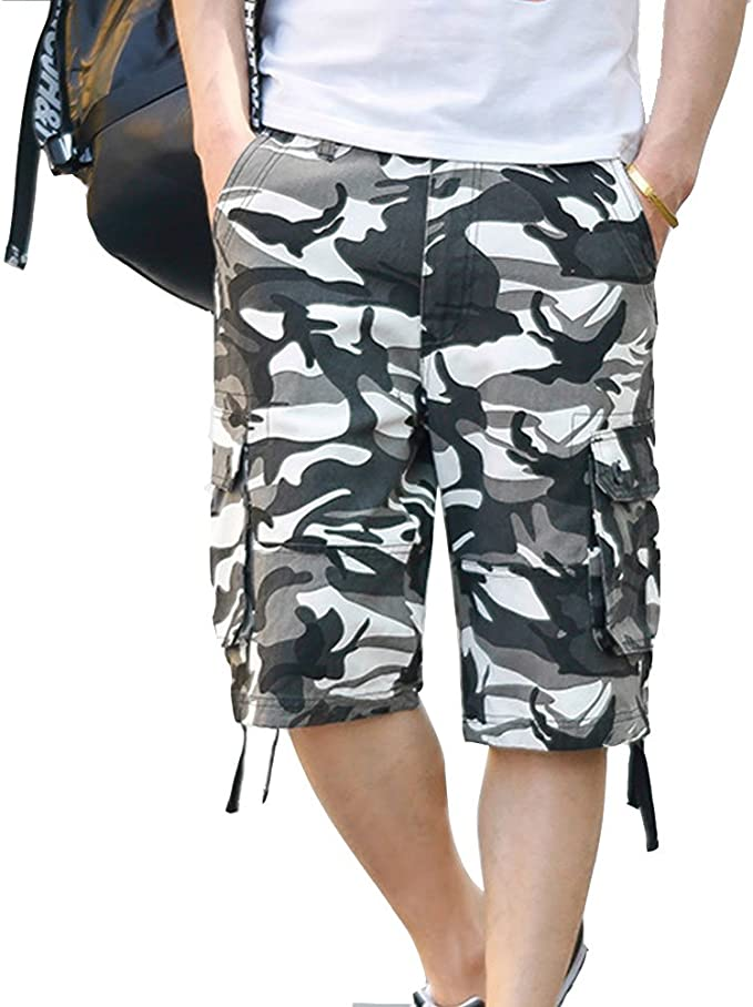 LINGMIN Mens Casual Loose Fit Cargo Shorts Solid Cotton Rugged Multi-Pockets Shorts