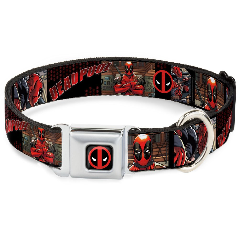 1.5\ Buckle-Down DC-WDP009-WL Dog Collar Seatbelt Buckle, Deadpool Comic Panels Logo, 1.5  by 18-32