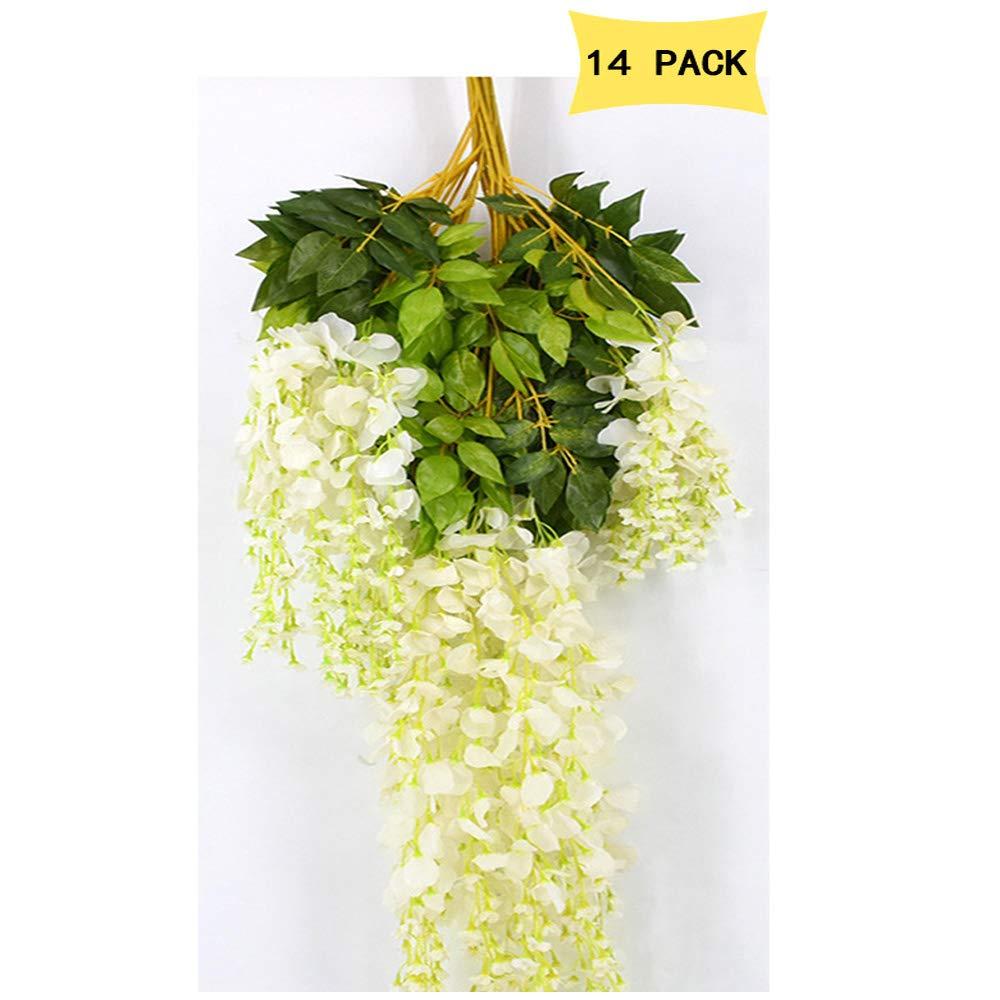 14 Pack 3.6 Feet/Piece Artificial Silk Wisteria Vine Ratta Hanging Flowers Party Wedding Decor (White)