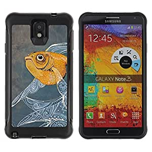 Suave TPU Caso Carcasa de Caucho Funda para Samsung Note 3 / Fish Painting Floral Pattern Oil Watercolor / STRONG