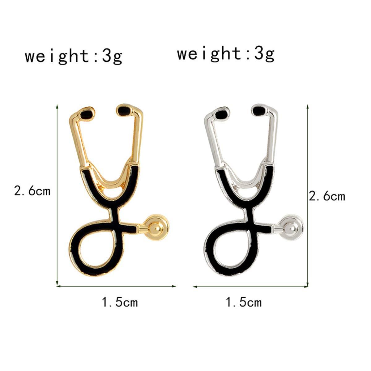 QCQHDU 6PC Medical Doctor Nurse Pins Brooch Enamel Lapel Stethoscope Collar for Doctor Nurse Gift Jewelry