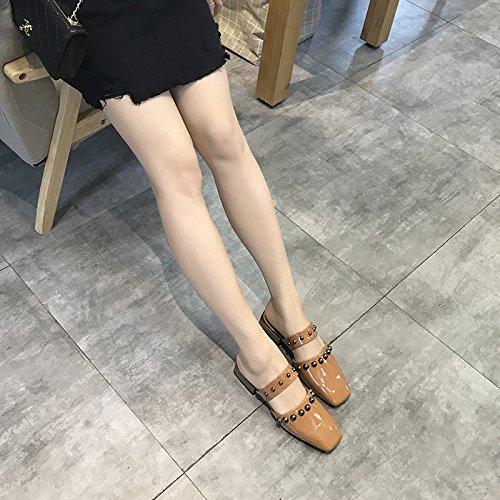 rivet casual femme mode porter déposer chaussons Et Couleur Angrousobiu et printemps l'été un glisser qxCfwwY0t