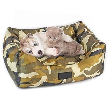 iBaste Camas para Mascotas Camuflaje Tela de Oxford Cama Perro Cama de Dormir para Gatos