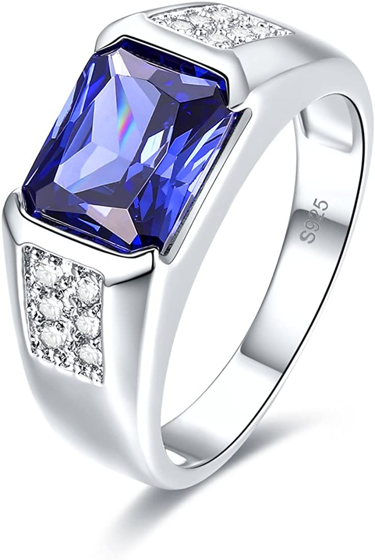 Auzeuner Women Thumb Band Lab-Created Tanzanite 925 Sterling Silver Party Ring