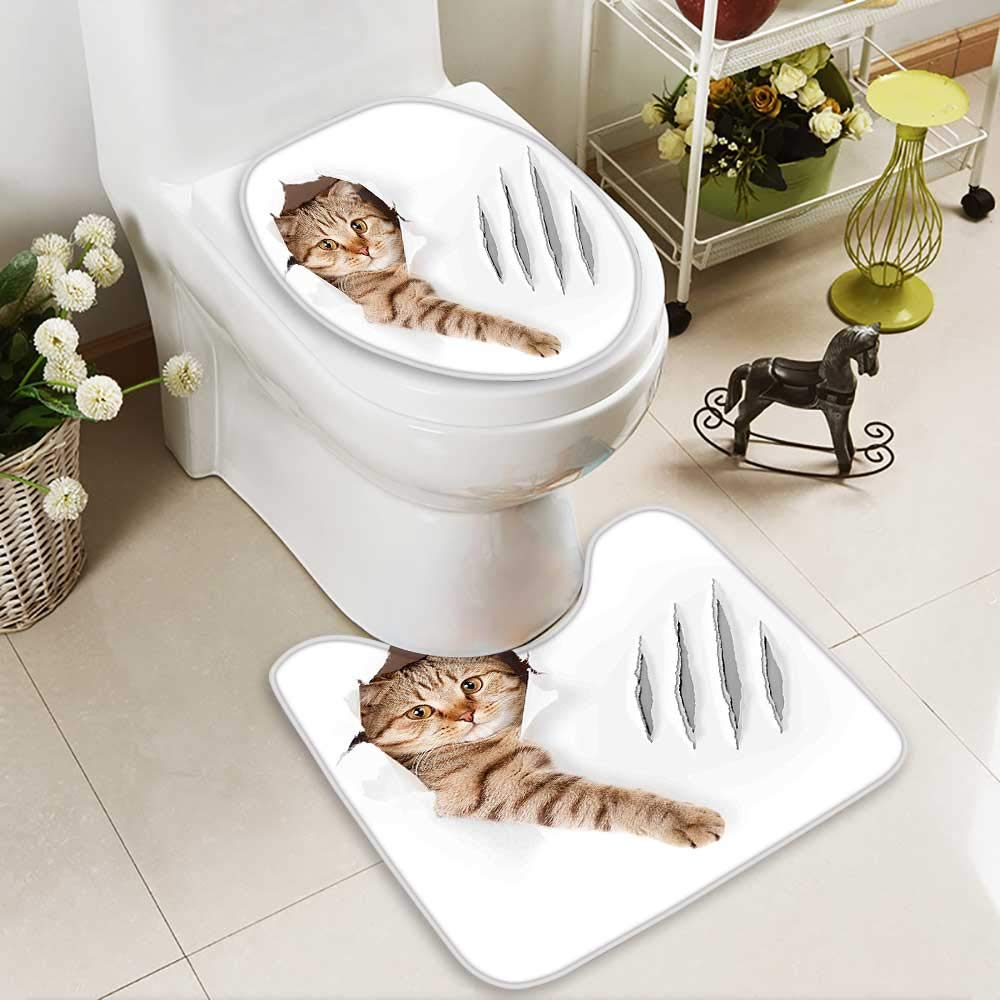 color9 L23.5\ color9 L23.5\ SOCOMIMI U-Shaped Toilet Mat Cat in Wallpaper Hole with Claw Scratches Playful Kitten Cute Pet Picture Brown Washable Non-Slip