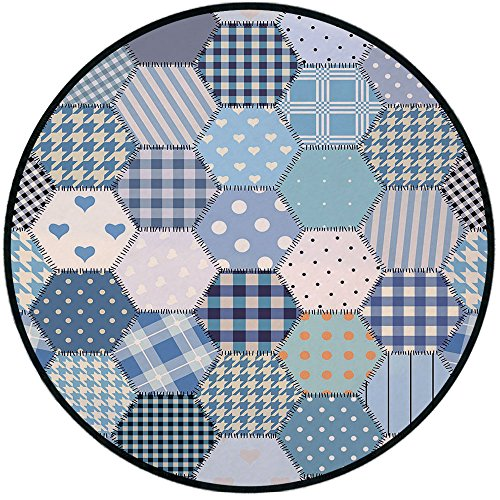 Printing Round Rug,Cabin Decor,Blue Toned Patchwork Hexagons Stitched Seem Quilt Pattern Retro Tile Image Decorative Mat Non-Slip Soft Entrance Mat Door Floor Rug Area Rug For Chair Living Room,Multic