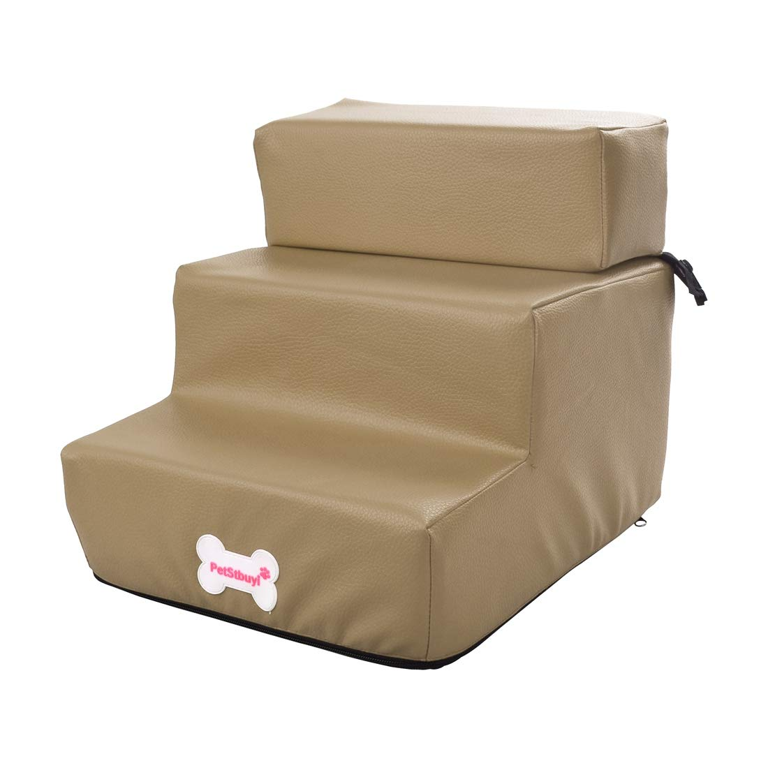 Freahap Pet Stairs Detachable Faux Leather 3 Steps Stairs for Dogs Cats Khaki by Freahap