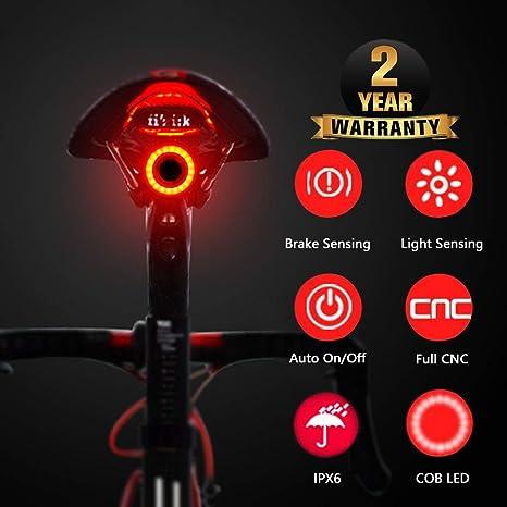 Bicicleta Luz trasera Inducción de freno USB Recargable ...