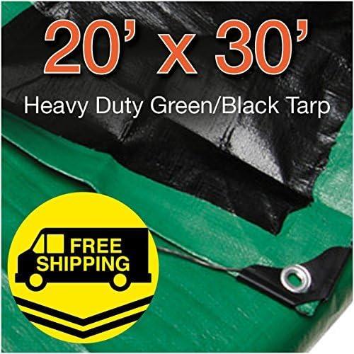 Heavy Duty Green/Black Reversible 10 Mil Poly Tarp (20x30)