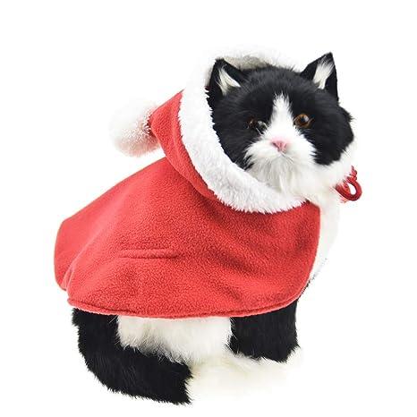 FLAdorepet - Gorro de Navidad con diseño de Papá Noel para Gatos y Perros pequeños