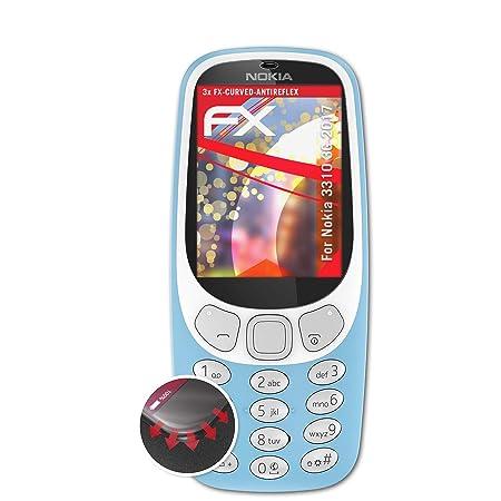atFolix Schutzfolie passend für Nokia 3310 3G 2017 Folie, entspiegelnde und Flexible FX Displayschutzfolie (3X)