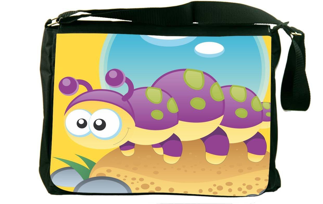 Rikki Knight Caterpillar Cartoon Messenger Bag School Bag