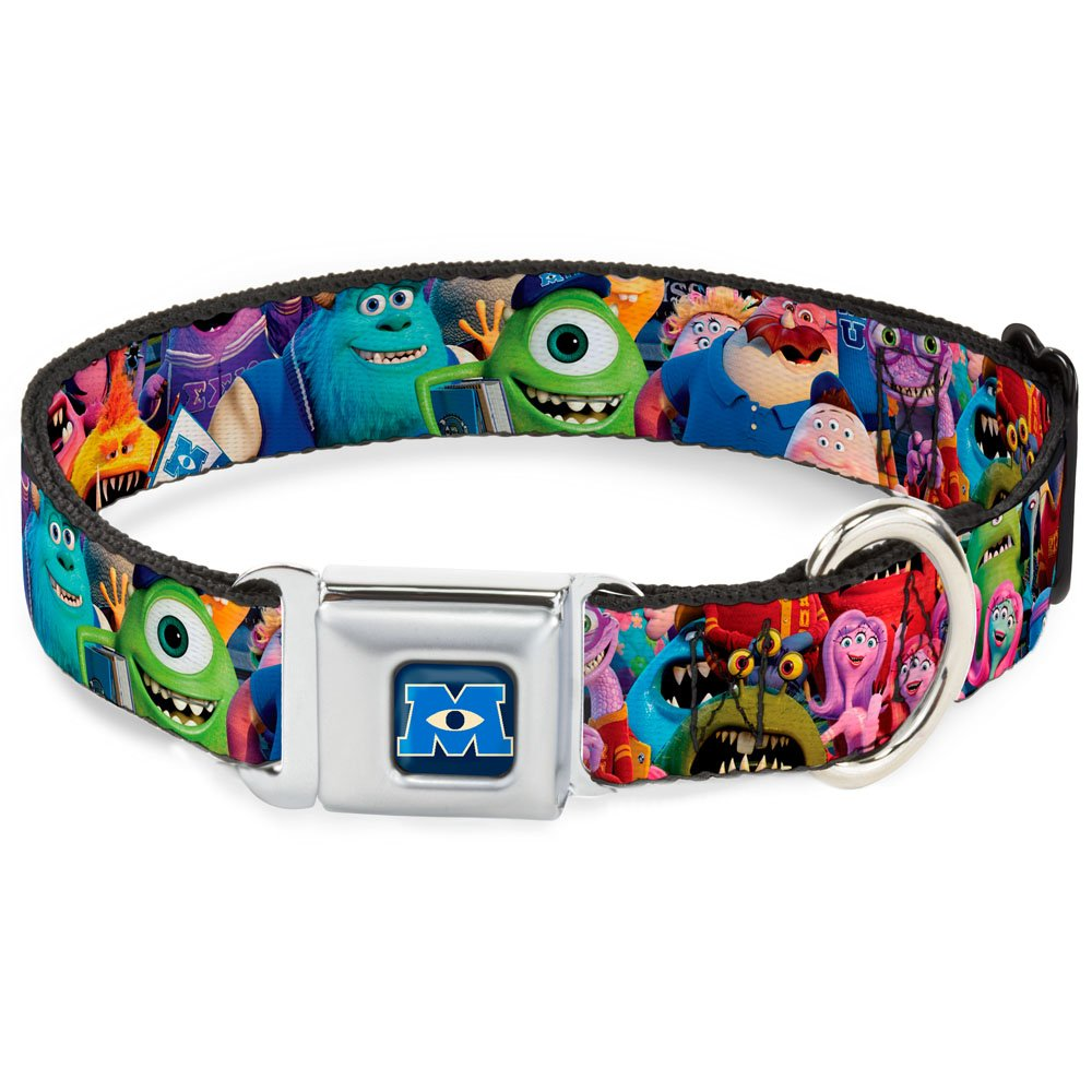 Buckle-Down Seatbelt Buckle Dog Collar Monsters University Monsters Stacked 1.5  Wide Fits 13-18  Neck Small