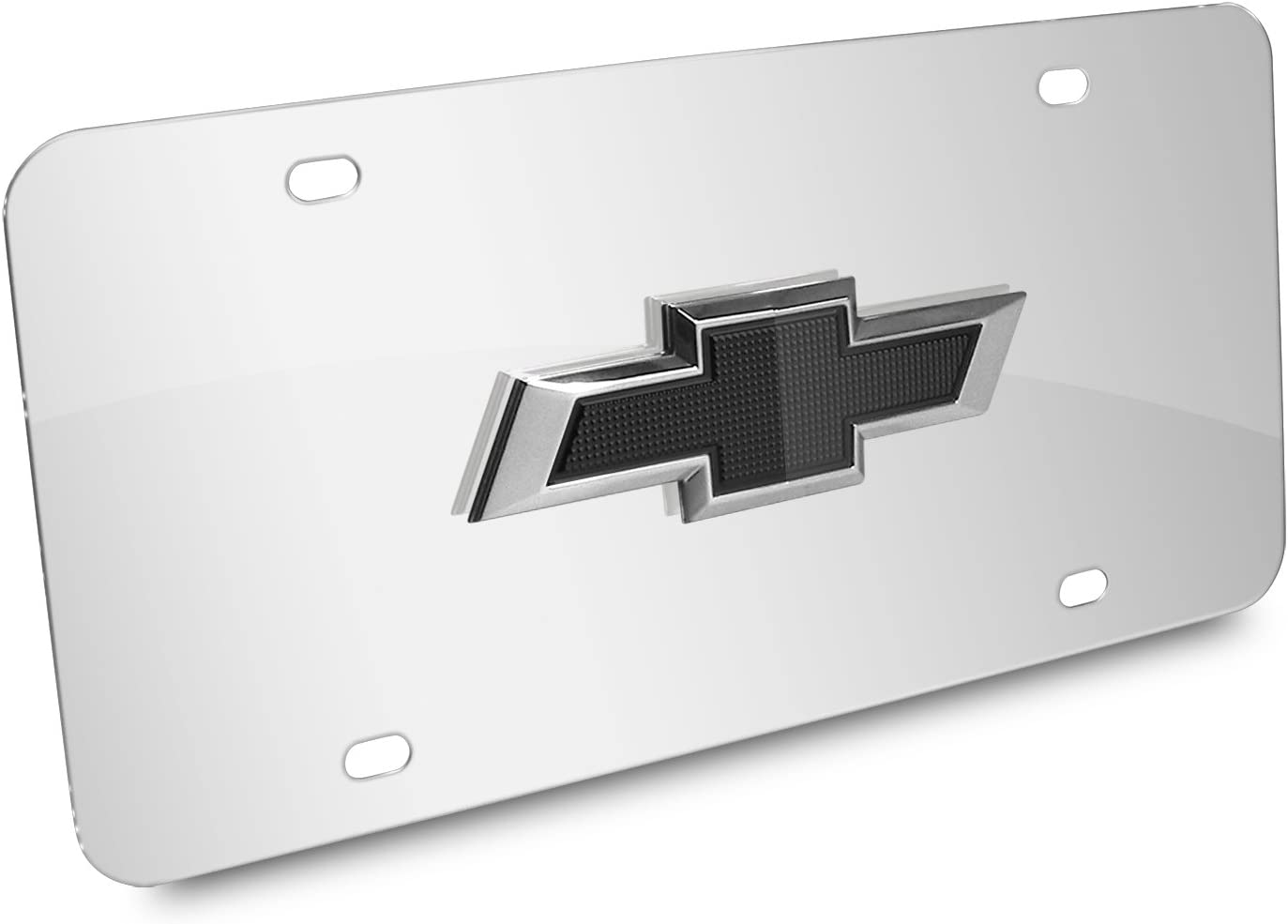Black Chevrolet license tag plate white Chevy bow tie