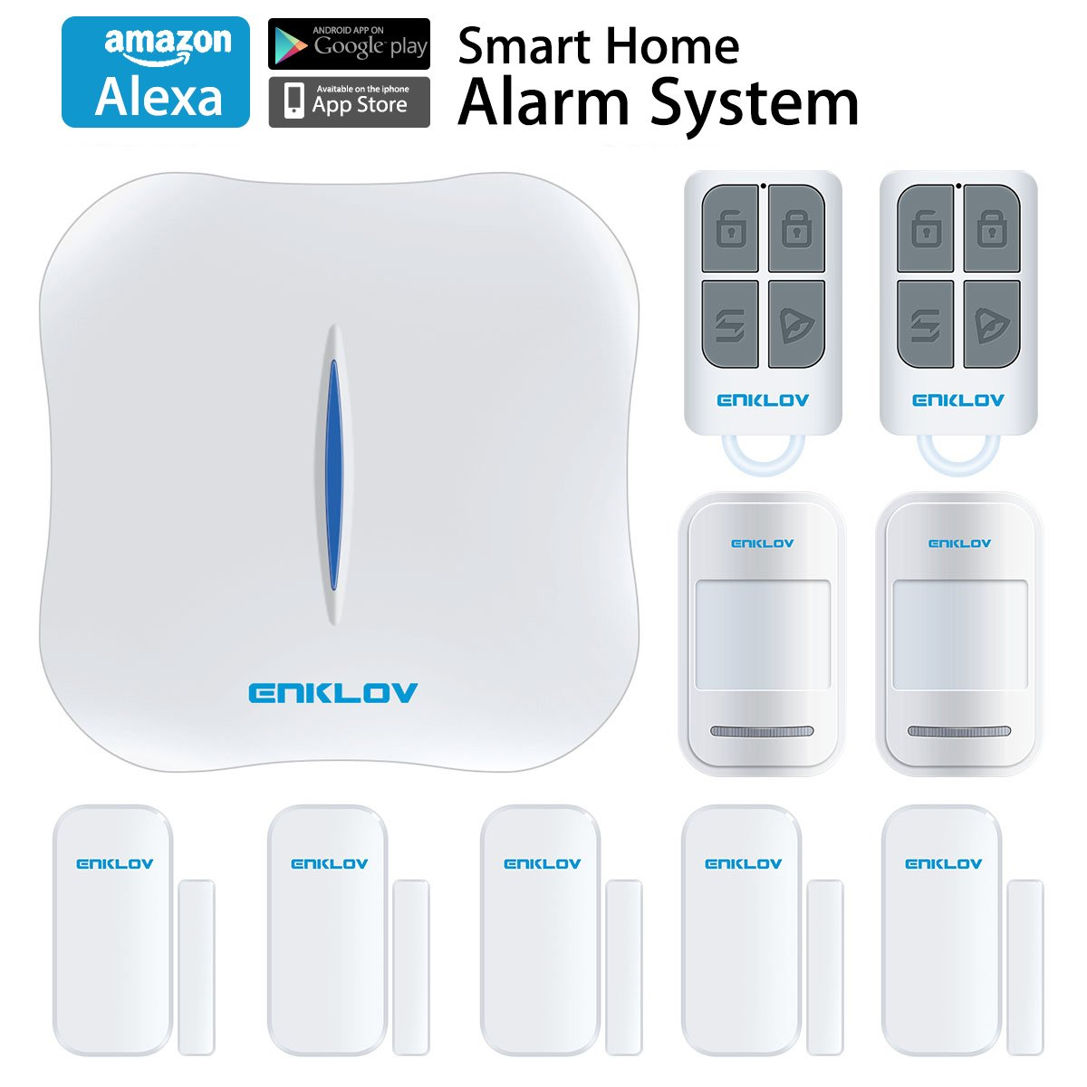 ENKLOV WiFi/PSTN DIY Home Security Alarm System Kit with Door/Window Sensor,PIR Motion Sensor,Remote Tag,Compatible with Alexa and MIPC Security Camera, App Remotely Control(IOS&Android)