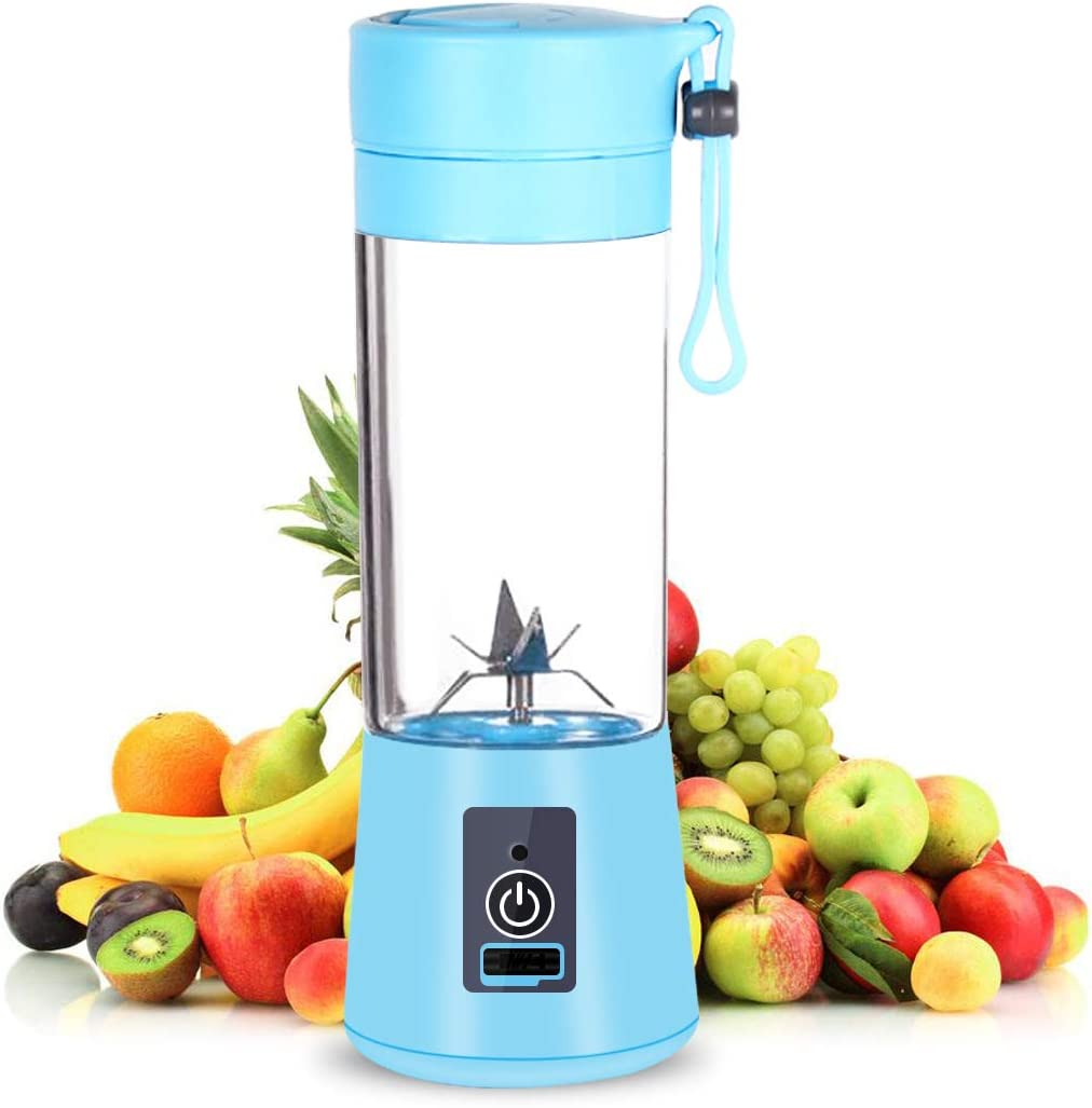 Portable Rechargeable USB Juicer Cup,Juicer Cup Blender(380ML)Mini Juice Mixer with Updated 6 Blades (Blue)