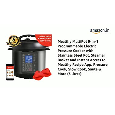 Mealthy MultiPot 9-in-1 Programmable Electric Pressure Cooker with Stainless Steel Pot, Steamer Basket and Instant Access to Mealthy Recipe App. Pressure Cook, Slow Cook, Saute & More (3 litres) 9