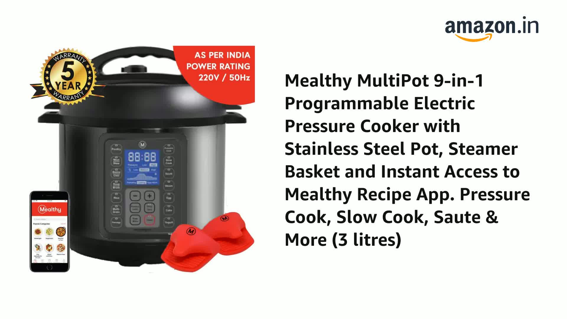 Mealthy MultiPot 9-in-1 Programmable Electric Pressure Cooker with Stainless Steel Pot, Steamer Basket and Instant Access to Mealthy Recipe App. Pressure Cook, Slow Cook, Saute & More (3 litres) 2