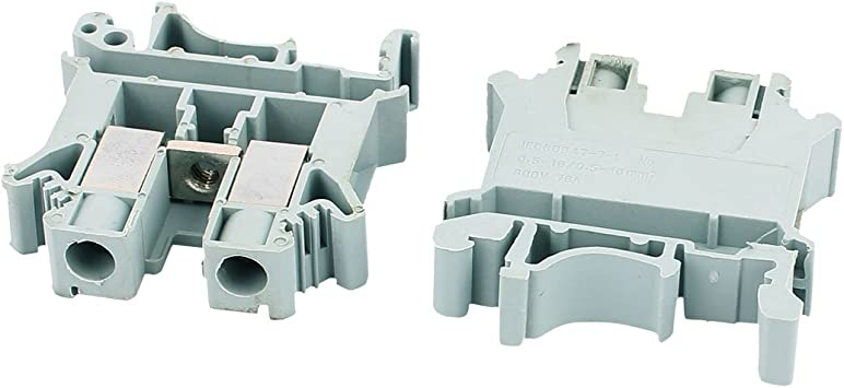 sourcing map 25Pcs Bloque De Terminales Tipo Tornillo Uk10N 800V 76A Montaje En Carril Din De 10 mm2 Cable Gris