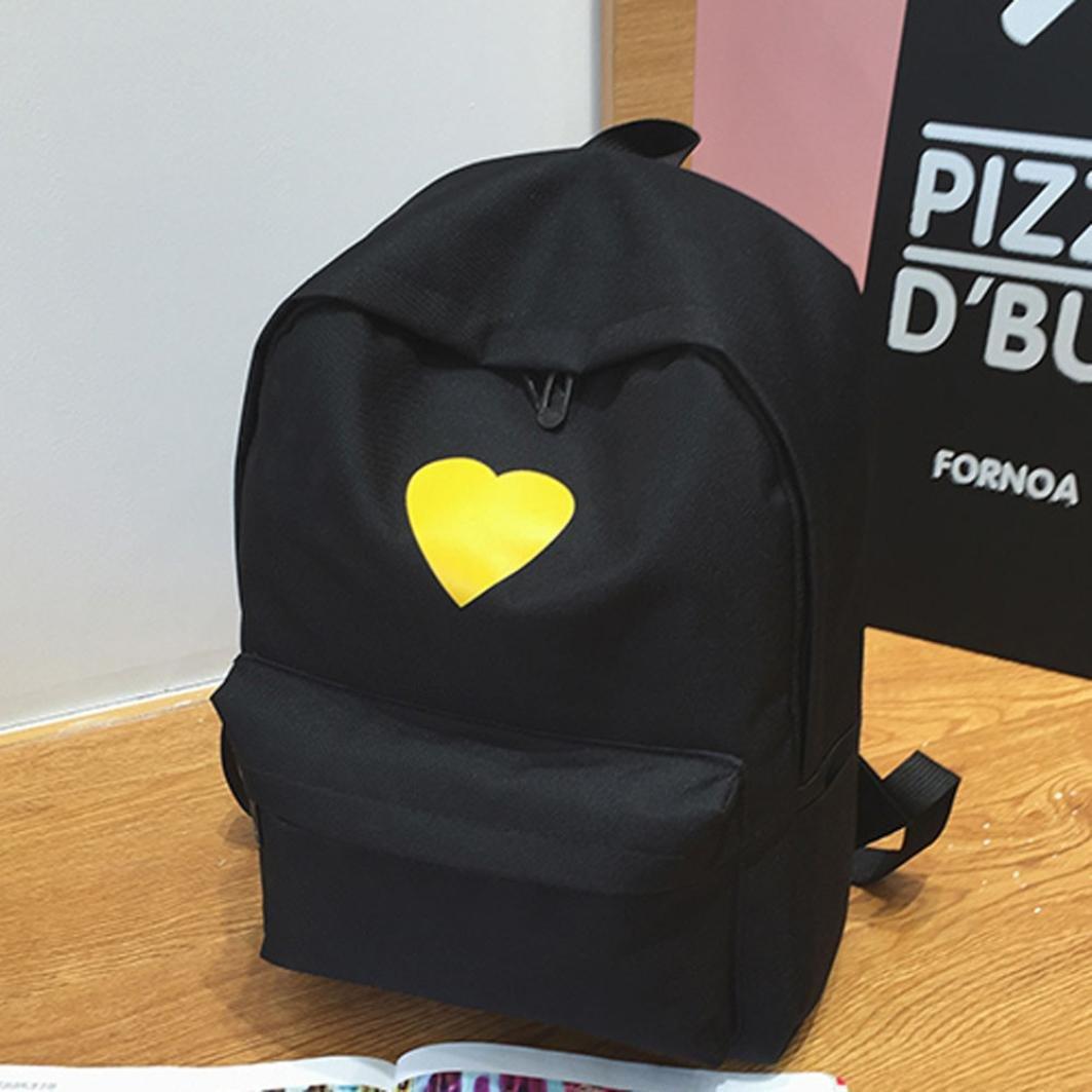 Travel Backpack ,Creazy Women Girl Fashion Love Print Preppy Style School Bag Travel Backpack Bag+Wallet (Black) by Creazydog (Image #3)