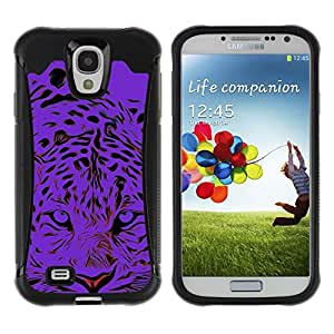 All-Round Hybrid Rubber Case Hard Cover Protective Accessory Compatible with SAMSUNG GALAXY S4 - black tiger animal stylish