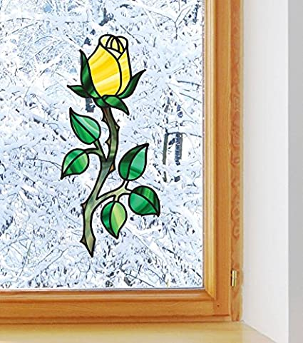 Yellow Yadda-Yadda Design Co Rose See-Through Vinyl Window Decal Color Variations Available MED 3 w x 7 h Copyright 2016 YYDC Stained Glass Style Rosebud on Long Stem