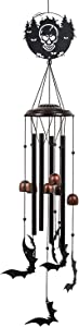 Monsiter QE Wind Chimes Halloween Decoration,Outdoor Large Windchime with 4 Aluminum Tubes,Unique Bat Wind Chime for Garden Patio Decor-Black