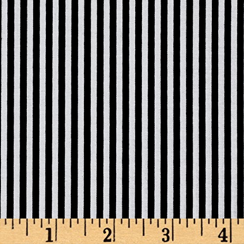 Black And White Quilting Fabric - Riley Blake 1/8in Stripes Black Fabric By The Yard