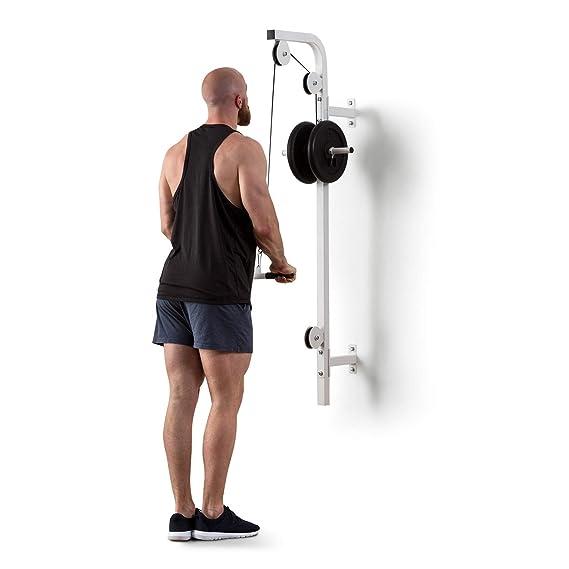 Klarfit Stronghold Latzug • Máquina de poleas • Poleas de Entrenamiento • En casa • Montaje en Pared • Hassta 100 kg • 2,5 m de Cuerda • Barra de tríceps ...