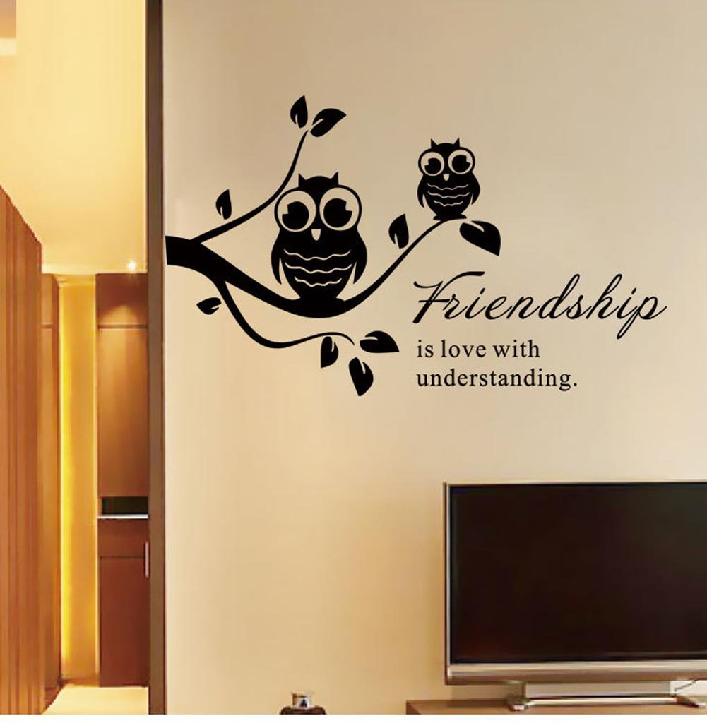 Amazon.com: BIBITIME Black Tree Branch Decal Double Owls Wall ...