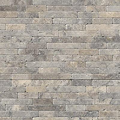 Silver Ash Veneer 8 In. X 18 In. X 10 mm Tumbled Travertine Mesh-Mounted Mosaic Tile, (10 sq. ft., 10 pieces per case)