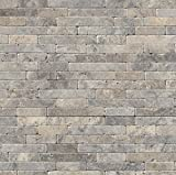 M S International Silver Ash Veneer 8 In. X 18 In. X 10 mm Tumbled Travertine Mesh-Mounted Mosaic Tile, (10 sq. ft., 10 pieces per case)