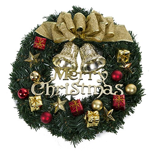 Christmas Wreath with Ribbon and Bells, Indoor Outdoor Christmas Wreaths Garland Ornaments Christmas Decorations (Gold Bell,14