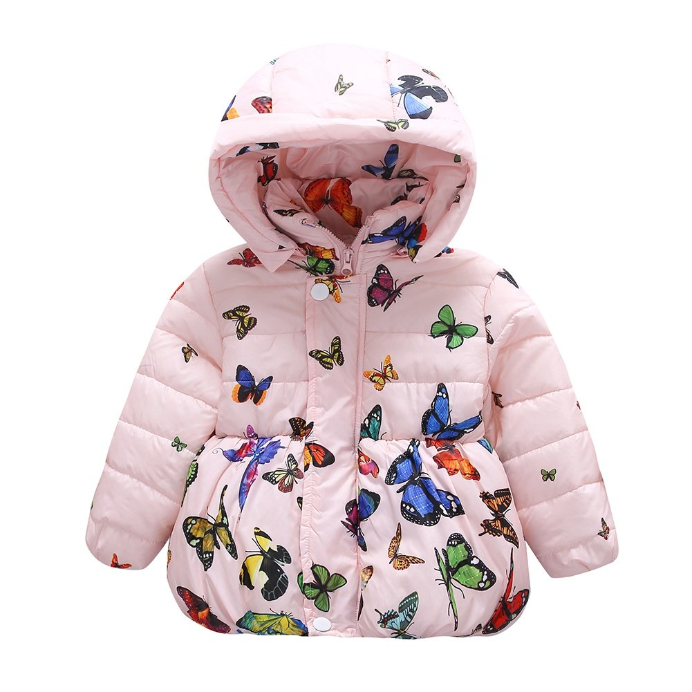 Jlong Baby Girls Winter Warm Soft Cotton Butterfly Long Sleeves Coat Jacket (3-4 Years, Zipper-Pink)