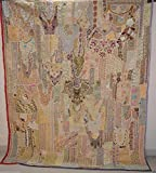 Heavy Beaded Work Embroidered Vintage Wall Hanging Bedspread Cover Tapestry VP15