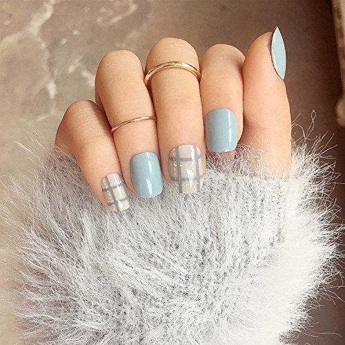 24 Pcs Solid Milk Blue Grey Fake Nails Short Full Cover Round Head Nail Tips