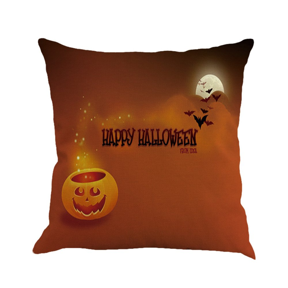 Happy Halloween Pgojuni Flax Pillowcase Decorative Throw Pillow Cover Cushion Cover Pillow Case for Sofa/Couch 1pc (45X45 cm) (A) by Pgojuni_Pillowcases (Image #1)