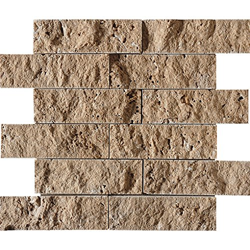 Noce Rock FACE 2X6 12X12X3 8 Travertine Mosaics (Box)