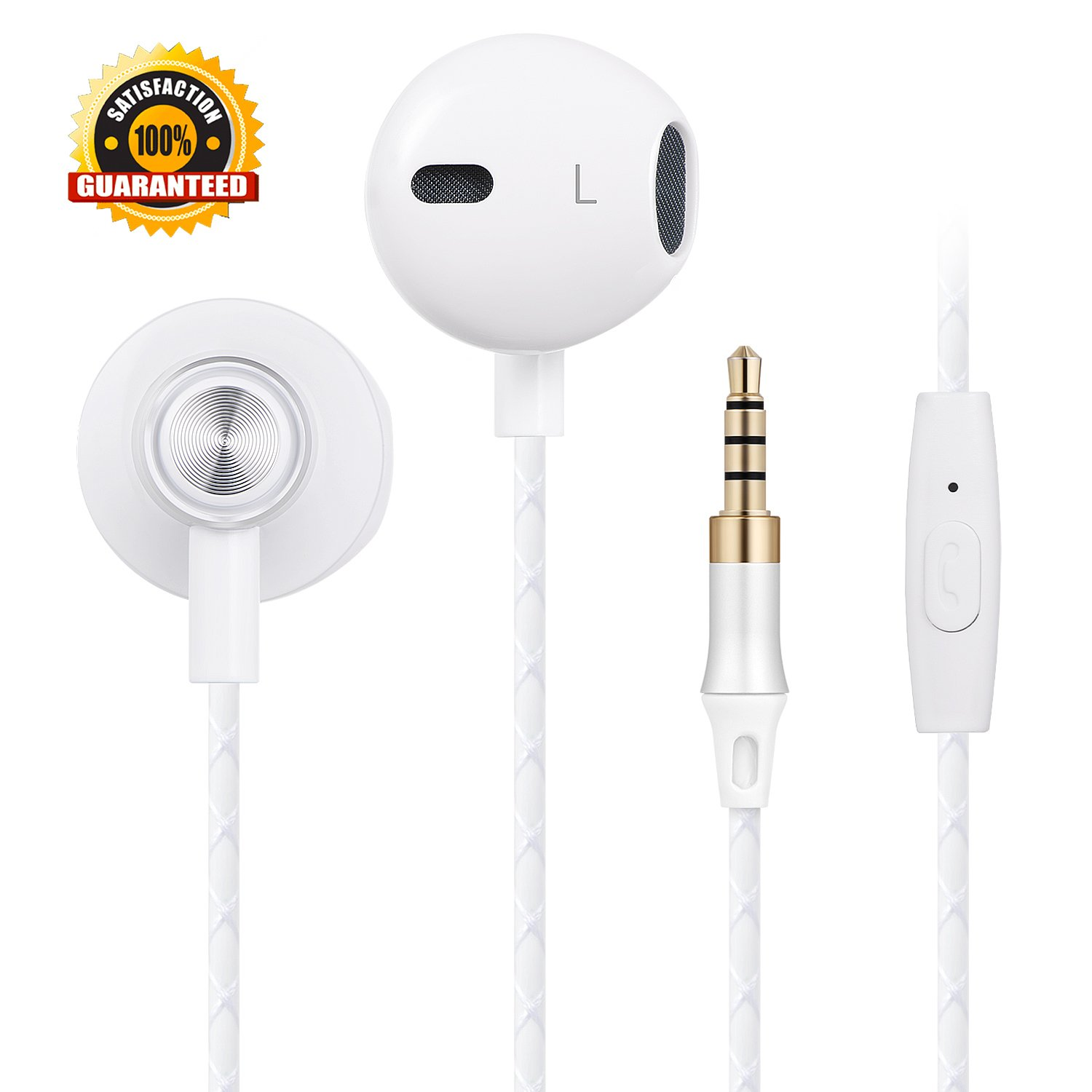 Headphones Earbuds Stereo in-Ear Earphones Noise Isolating with Remote and Mic Wired Earbuds MP3 Players Compatible with 3.3mm Jack Smart-Phones, Tablets and More