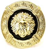 Medusa Ring 3 New Gold Color With Black Enamel Stretch Band Chris Brown