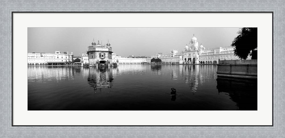Temple at the waterfront, Golden Temple, Amritsar, Punjab, India by Panoramic Images Framed Art Print Wall Picture, Flat Silver Frame, 44 x 22 inches