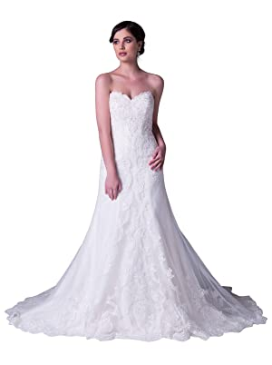 JOYNO BRIDE Sweetheart Ball Gown Wedding Dresses for Bride Crystals Gowns (14, White)