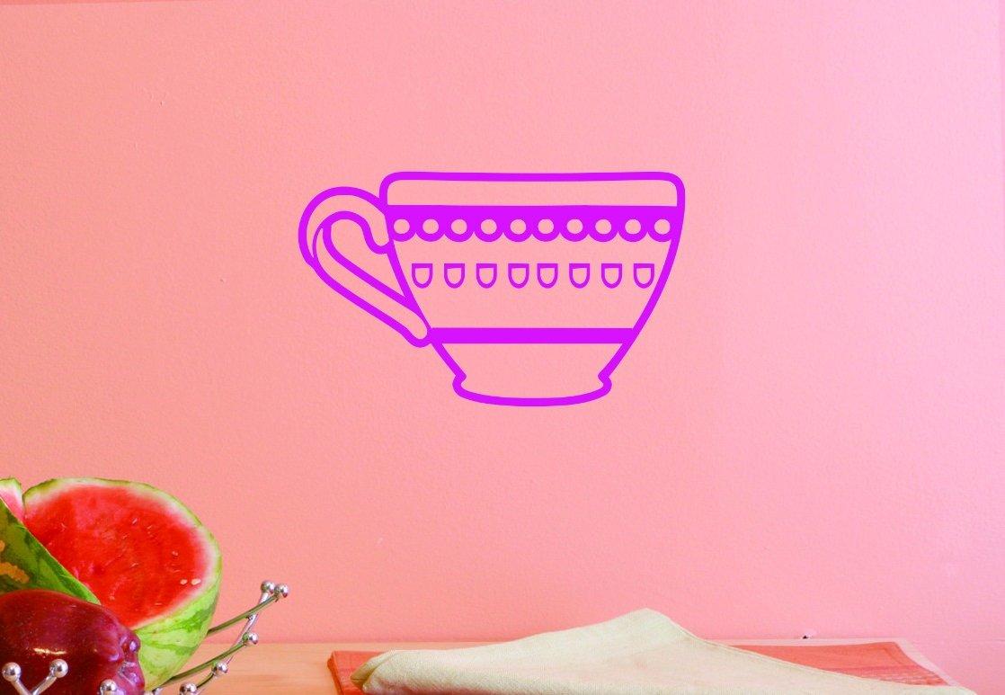 Design with Vinyl JER 1455 2 Vinyl Wall Decal Tea Cup 14X28 Pink 14 x 28