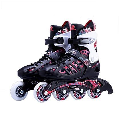 YQ 4 Ruedas Patines En Línea Ajustables Cuchillas Niños Adultos Zapatos De Skate,L