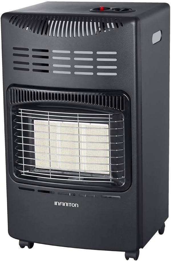 Estufa DE Gas BUTANO HG-114 INFINITON (Potencia Calorífica de 4200W, Seguro Anti-vuelco, Ruedas pivotantes, Encendido Mediante pulsador)