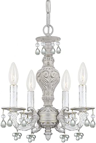 Crystorama 5224-AW-CLEAR Crystal Accents Four Light Mini Chandelier from Paris Market collection in Whitefinish, 13.50 inches