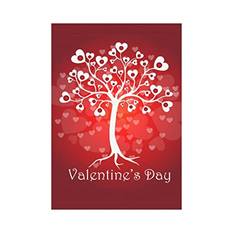 8c2b1dc17253 INTERESTPRINT Tree of Love Heart Polyester Garden Flag Outdoor Banner 28 x  40 inch, Happy Valentine's Day Wedding Decorative Large House Flags for ...