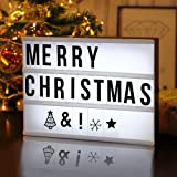 Jijie DIY Cinematic Light Up Box with Letters and LED Light - 96 Total Letters, Numbers & Emojis, Battery and USB Power A4 Size
