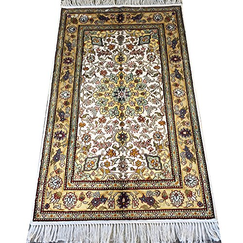 YILONG CARPET 2.5' x 4' Handmade Qum Silk Rug for Living Room Oriental Traditional Carpet Persian Knotted Silk Rug Y117C2.5x4
